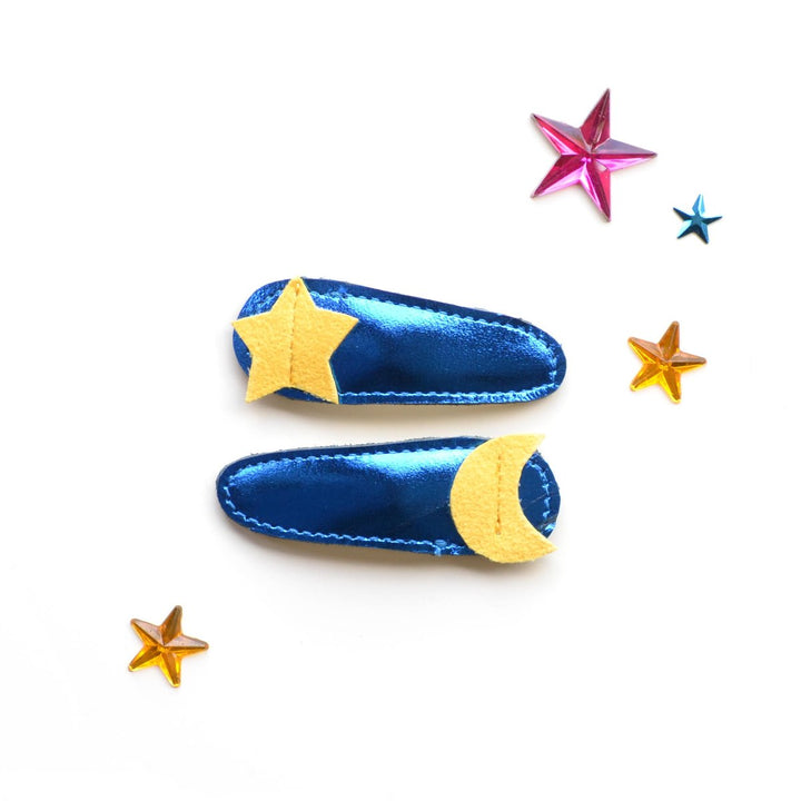 Hello Shiso Star & Moon Clips (metallic blue)