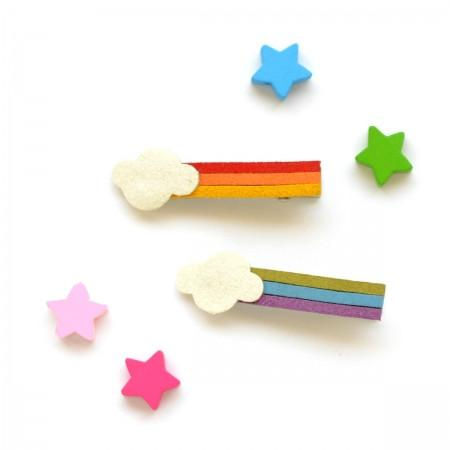 Hello Shiso Rainbow Claw Clips (white/red/blue)