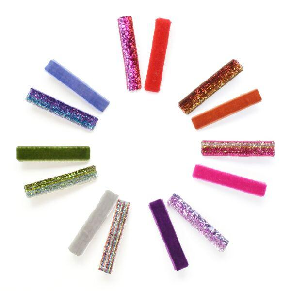 girls velvet glitter hair clips