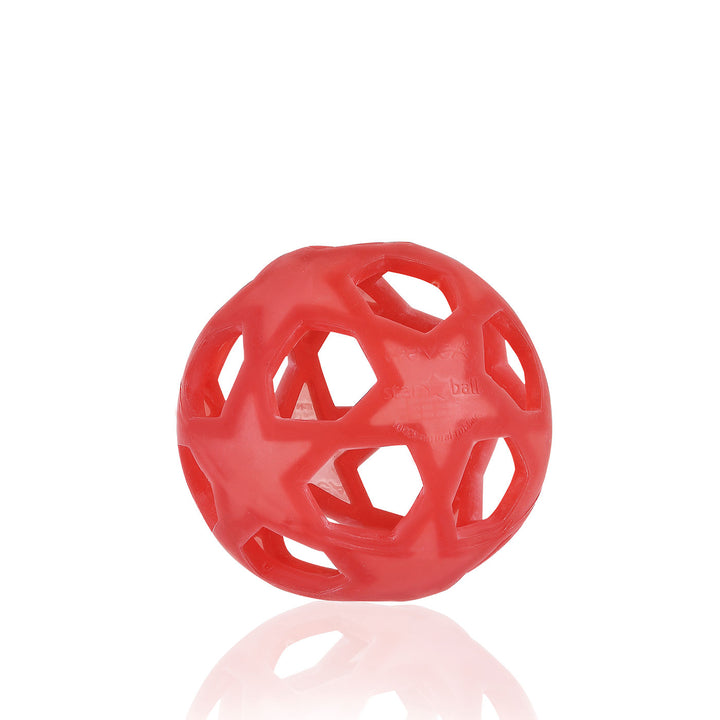 Hevea Natural Rubber Star Ball (raspberry red)
