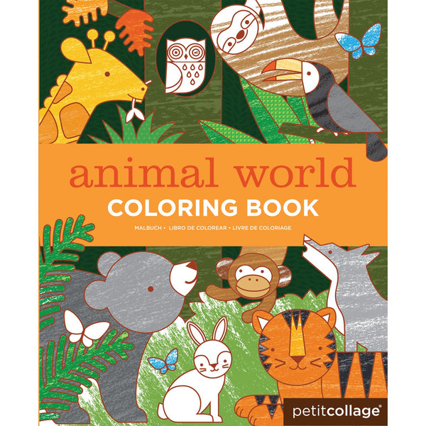 Petit Collage Animal World Coloring Book