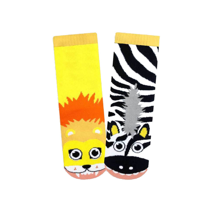 Pals Socks - Zebra & Lion (yellow/black)
