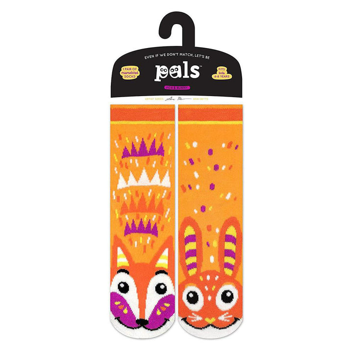 Pals Socks - Fox and Bunny (orange)