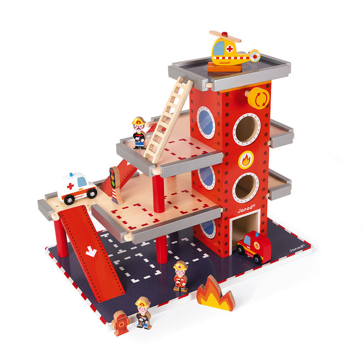 Janod Wooden Fire Station for 3 Years and Up