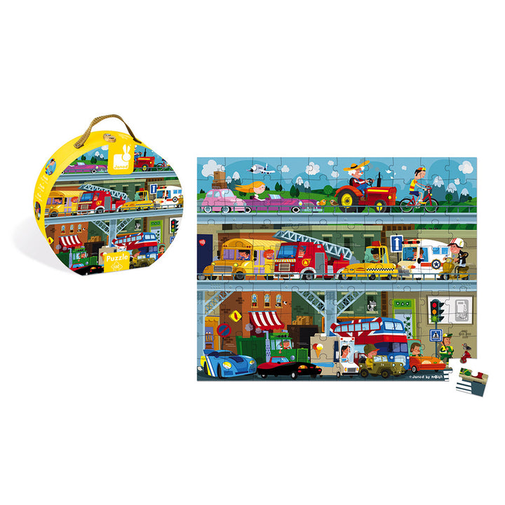 100 Piece Vehicles Hat Box Puzzle