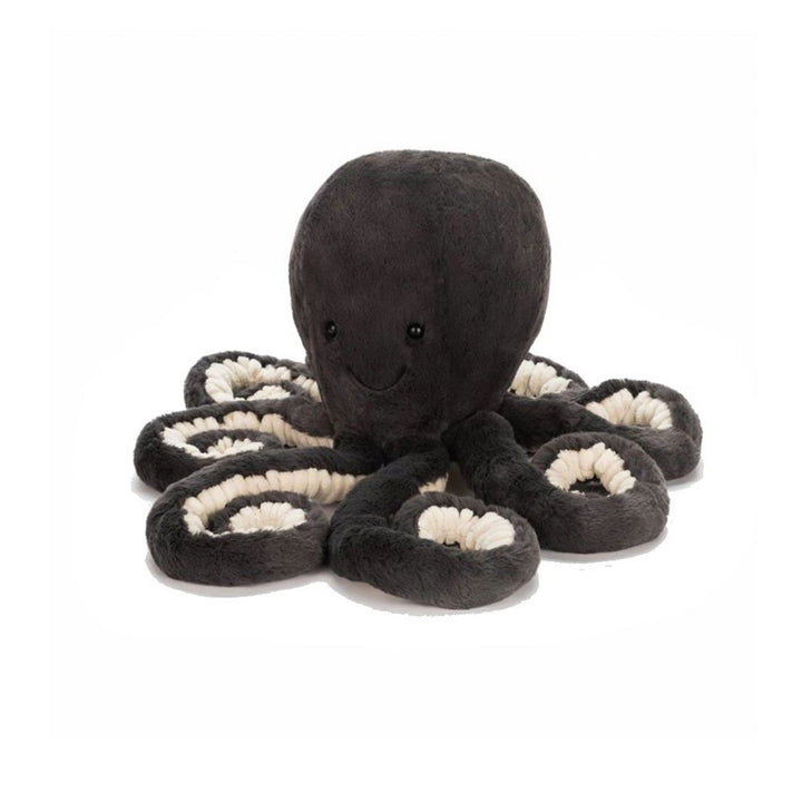 "Inky Octopus - baby. 7"" total length. Dark charcoal with cream lining on tentacles"