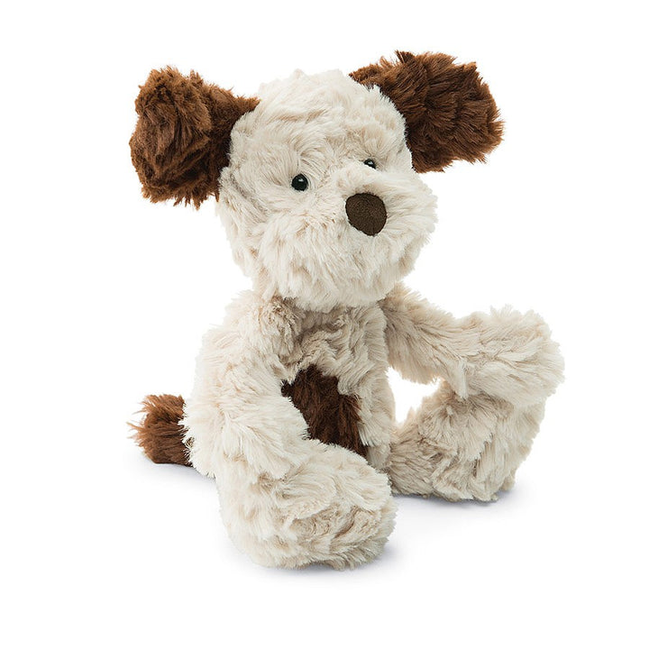 "Jellycat Squiggle Puppy Height 8"" Super Soft Cream with Brown ears, tail, spots"