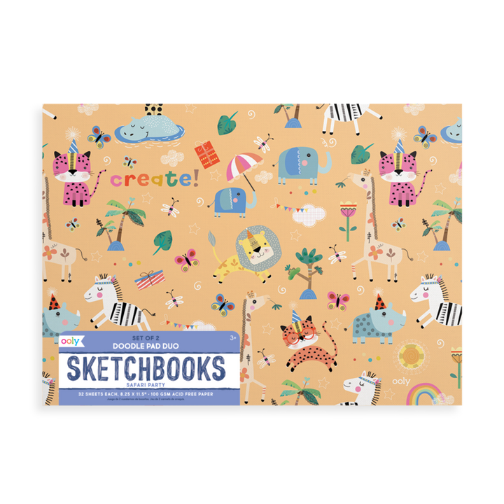 OOLY Safari Party Doodle Sketchbooks (2 pack)