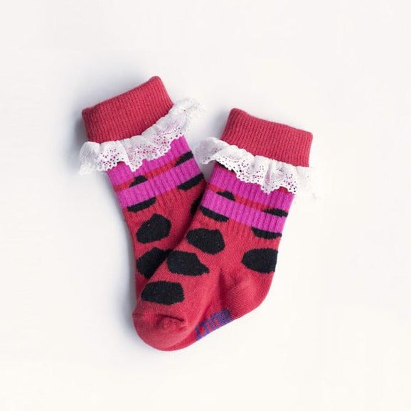 Pink Dot Socks  with Ruffle