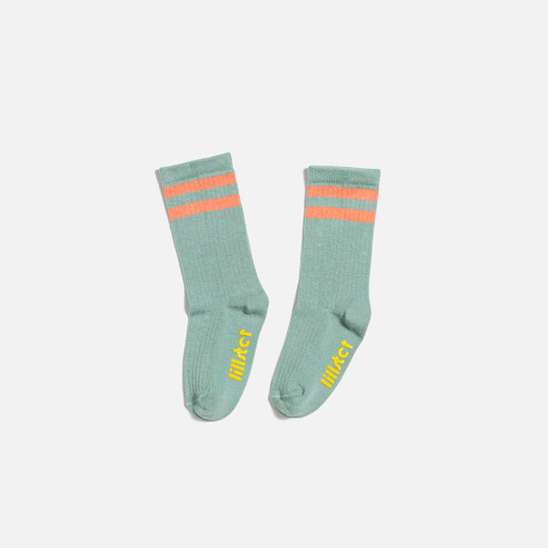 Aqua Striped Kids Socks by Lillster