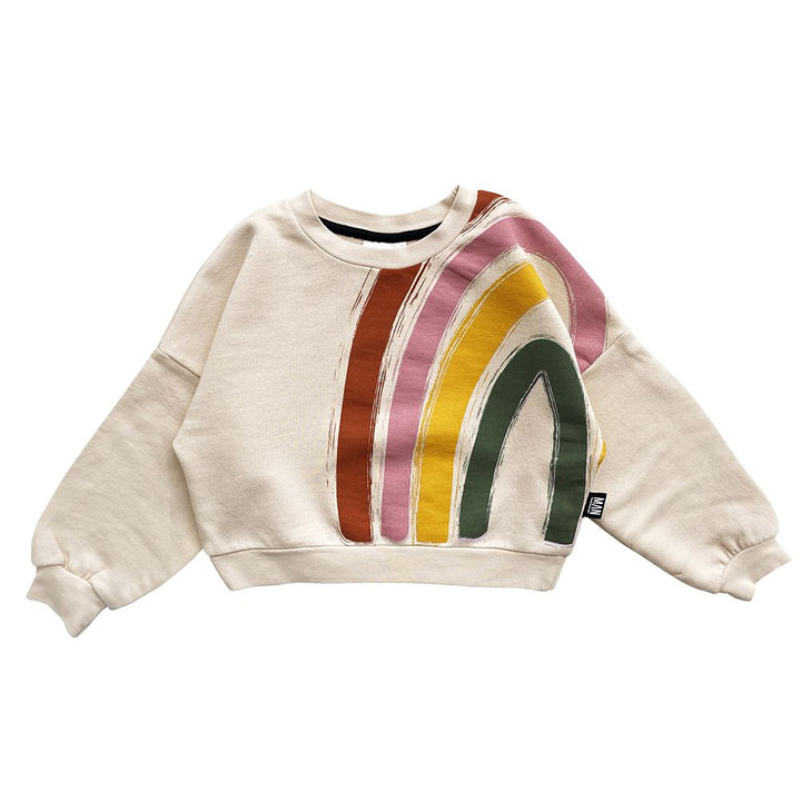 Organic Cotton Rainbow Summer Long Sleeve Crop Sweatshirt