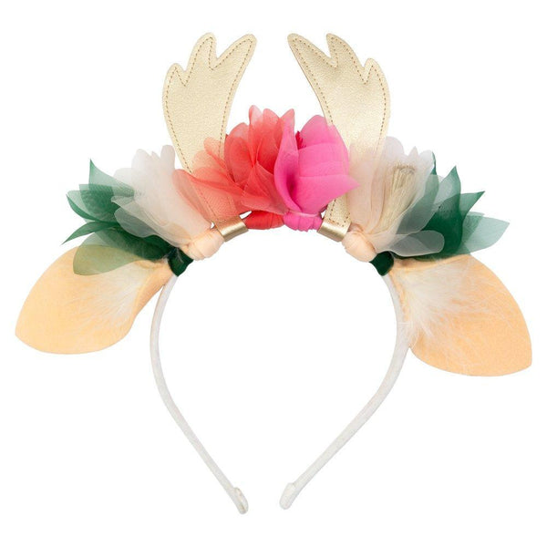 felt flower and reindeer antler handmade headband pink