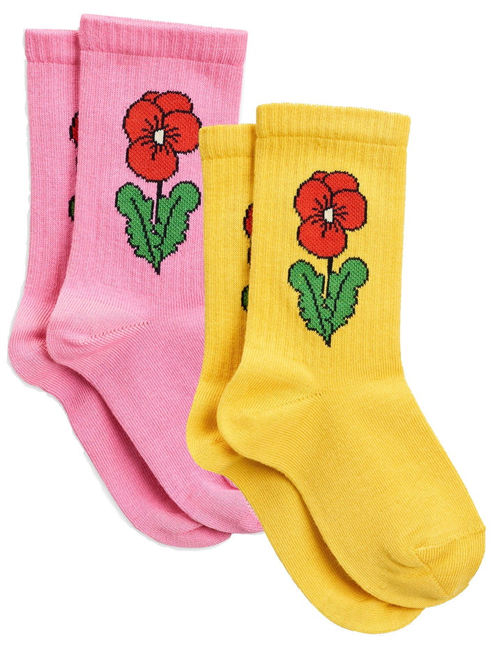 Mini Rodini Viola Flowered Socks (pink/yellow)