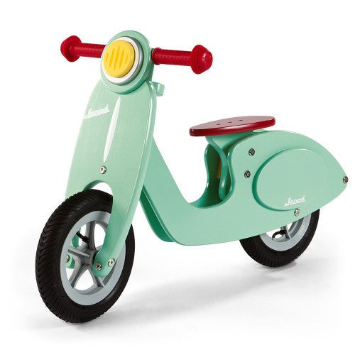 mint green wooden scooter