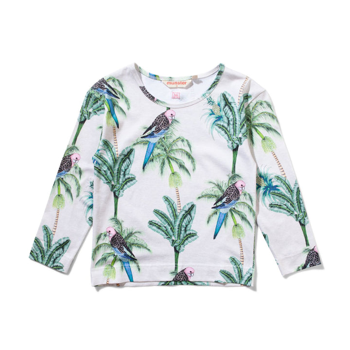 Long Sleeve Tropical Print 100% Cotton Tee by Missie Munster