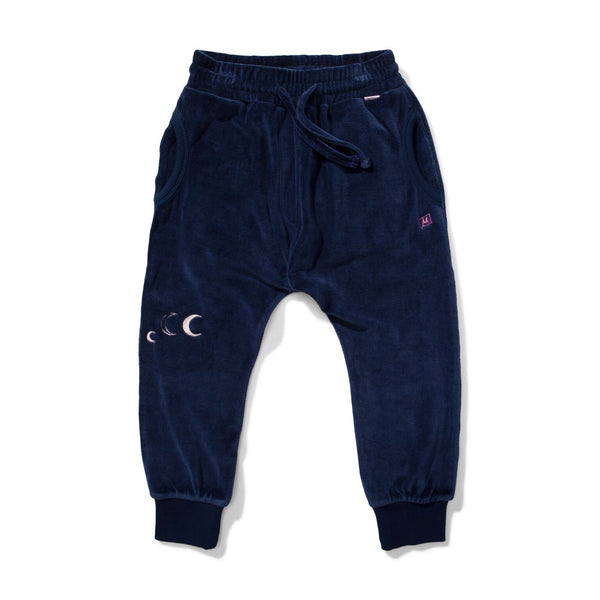Dark Navy Velour Track Pant by Missie Munster