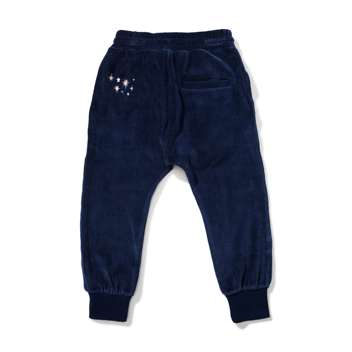 Dark Navy Velour Track Pant by Missie Munster - back
