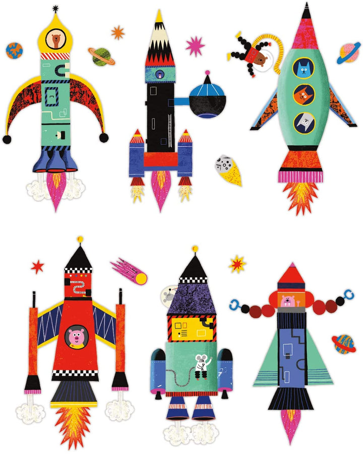 Magnetic Build It Rocket Ships Tin - combinations