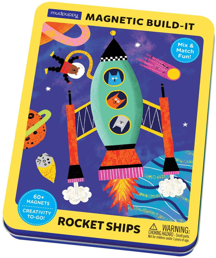 Magnetic Build It Rocket Ships Tin