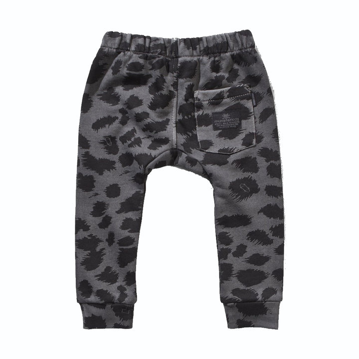 Munster Charcoal Leopard Fleece Track Pant - back