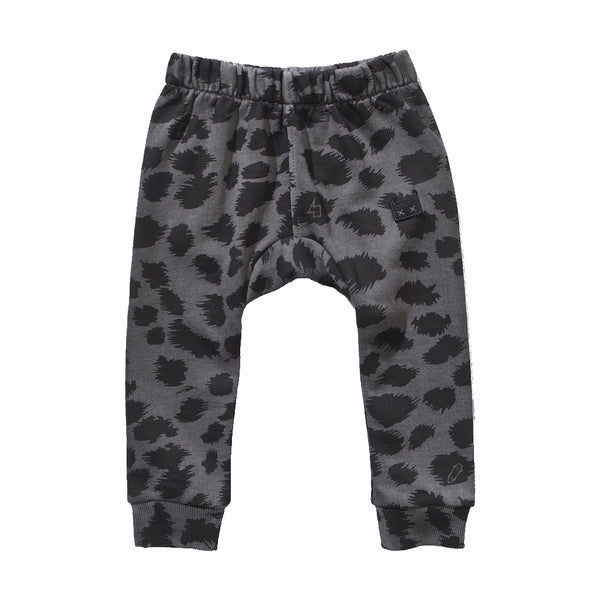 Munster Charcoal Leopard Fleece Track Pant - front
