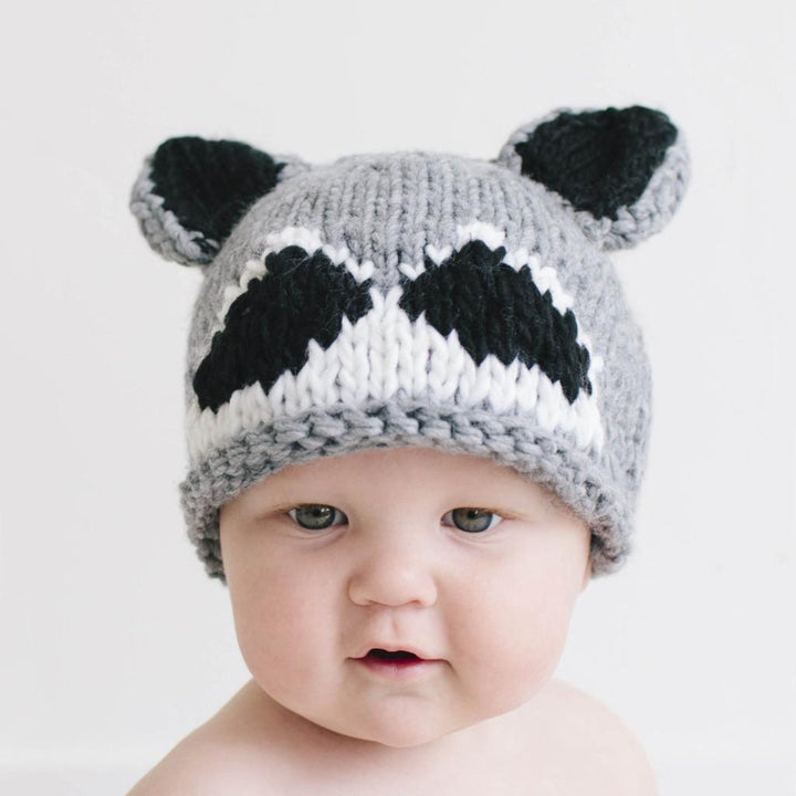 Woodland Raccoon Knit Beanie Hat (grey)