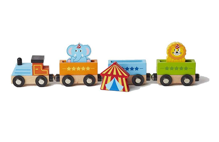 "Wooden Circus Train for Toddler - Ages 2+ - child safe 12"" Long"
