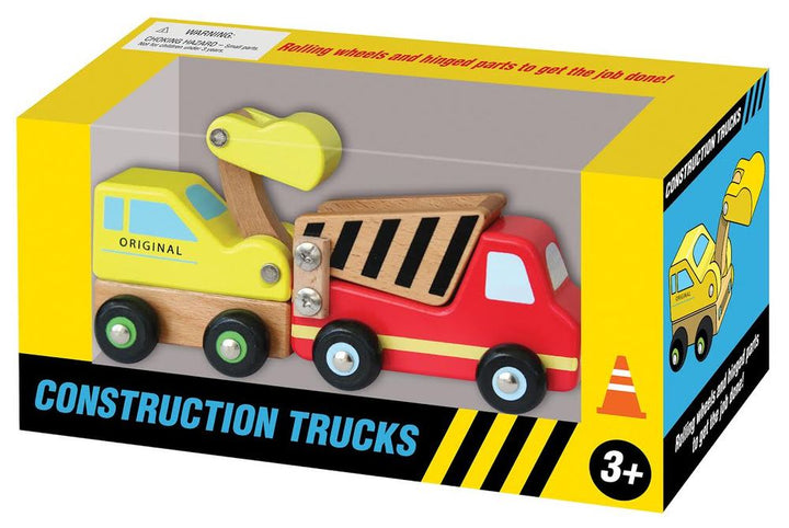Box of wooden crane and truck