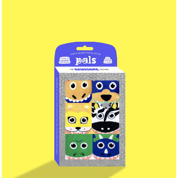 Pals Mismatch Toddler Socks Gift Box (1-3 yrs) 3 pairs... 6 wild animals! Rawrsome!