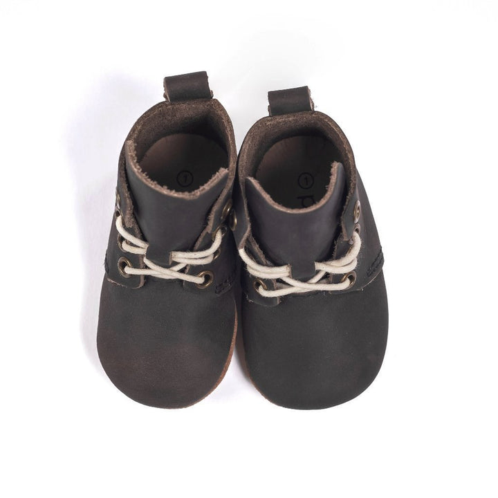 Piper Finn Hamilton Leather High Top Oxford Baby Shoe (black)