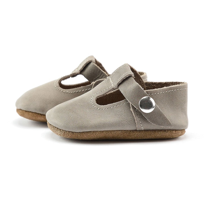 Leather Baby Jane Baby Shoes in Stone Grey - side view