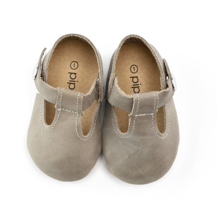 Leather Baby Jane Baby Shoes in Stone Grey - top view