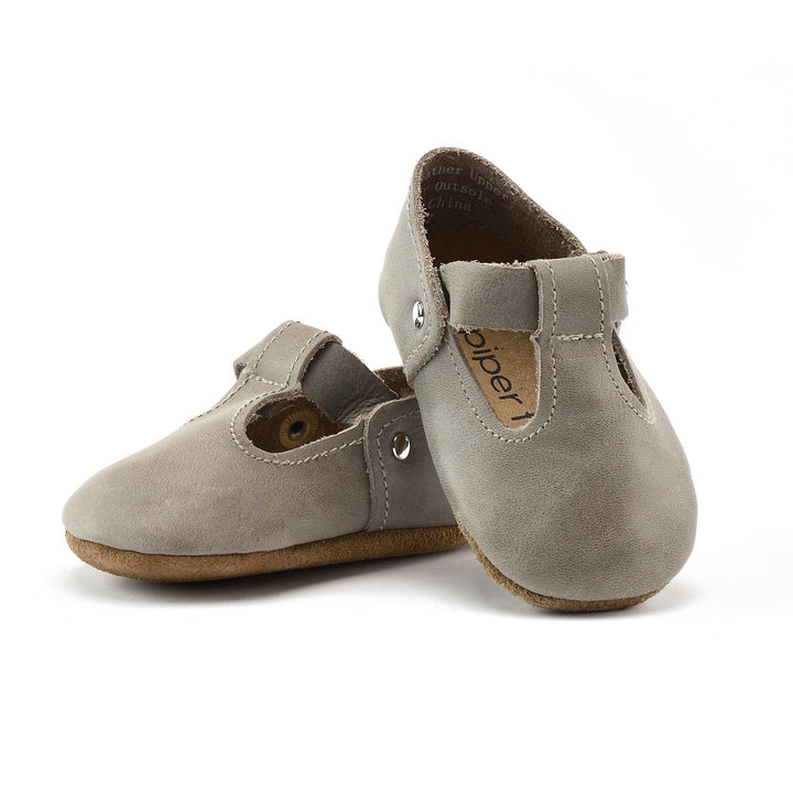 Leather Baby Jane Baby Shoes in Stone Grey