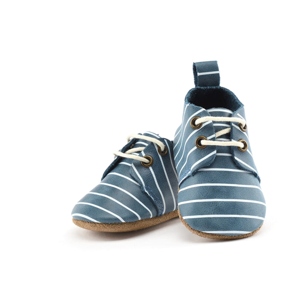 Piper Finn Henry Leather Baby Oxford (blue stripe)