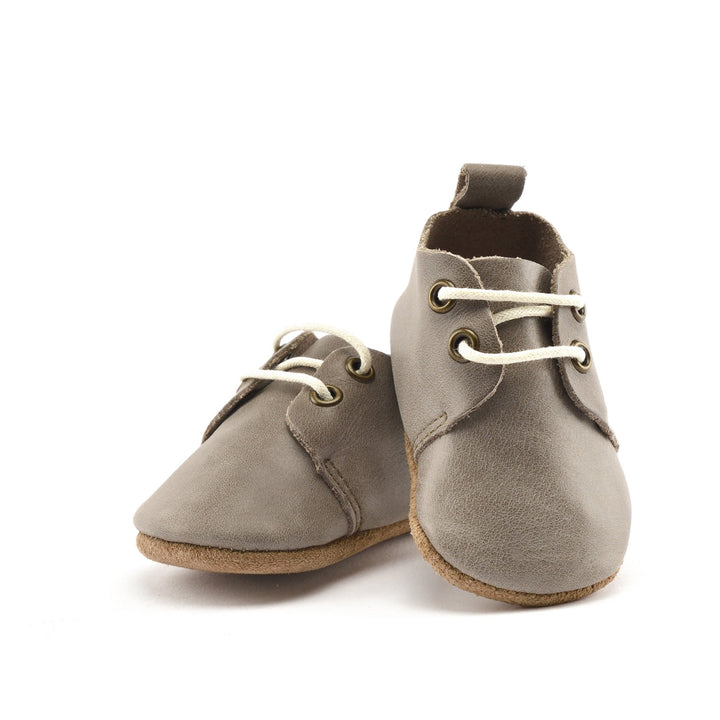 Leather Baby Oxfords in Stone color