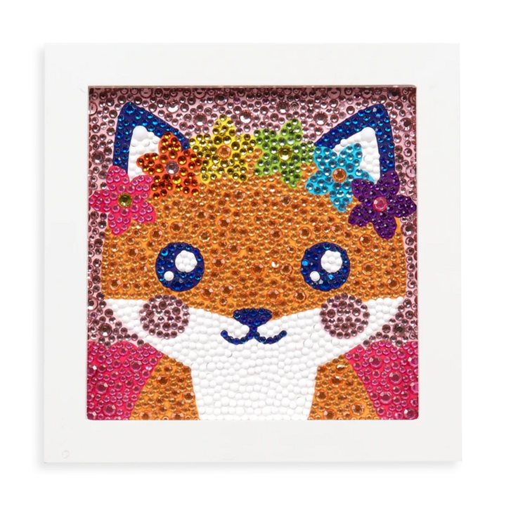 the fox completed with the colorful gems inside the picture frame.