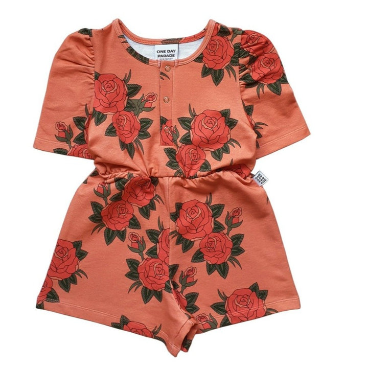 Pink Rose Print Girls Playsuit