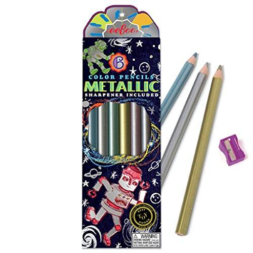 Metallic Color Chunky Pencils & Sharpener for Kids 3+