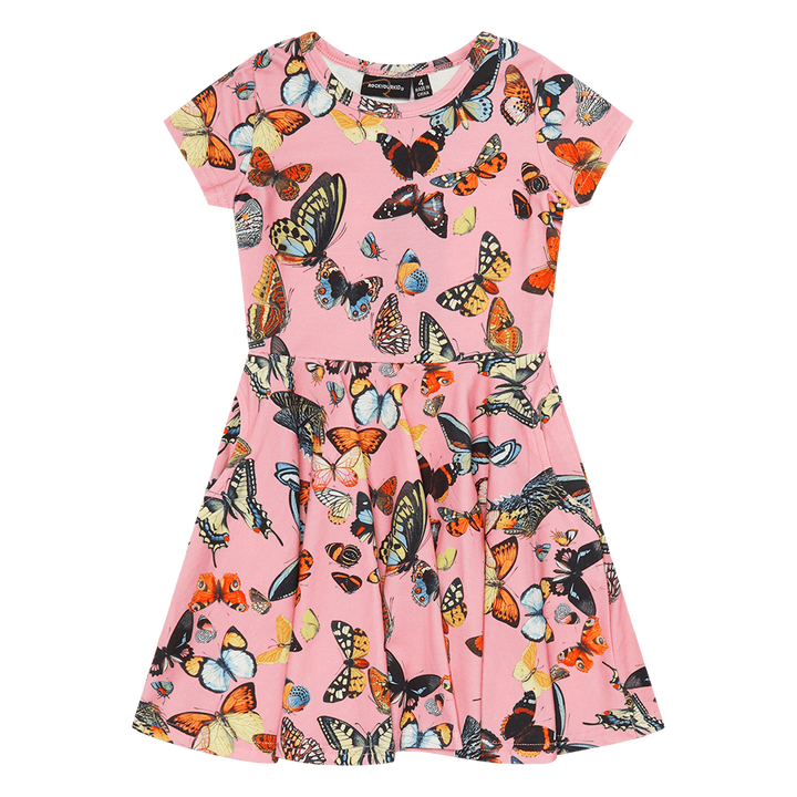 Full Circle Butterflies Print Short Sleeve Cotton Dress