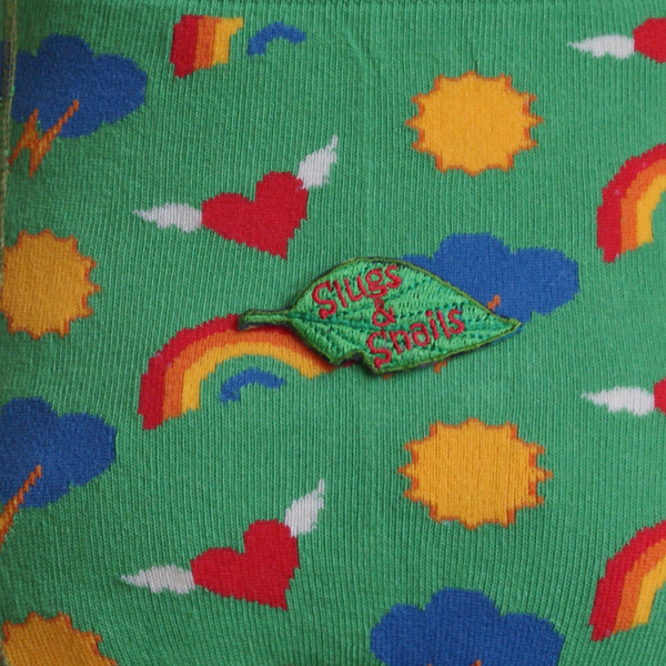 Kids Green Tights with Sun, Rainbows, Hearts - closeup