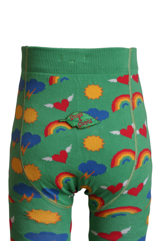 Kids Green Tights with Sun, Rainbows, Hearts - back