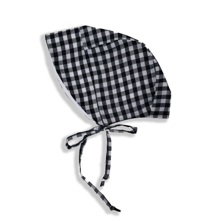 Brimmed Baby Bonnet in Black/White Gingham