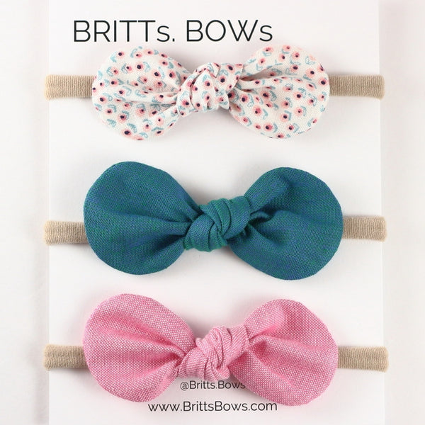 Britts Bows 3 Handmade Baby Bow Headbands (spring flowers/teal/pink)