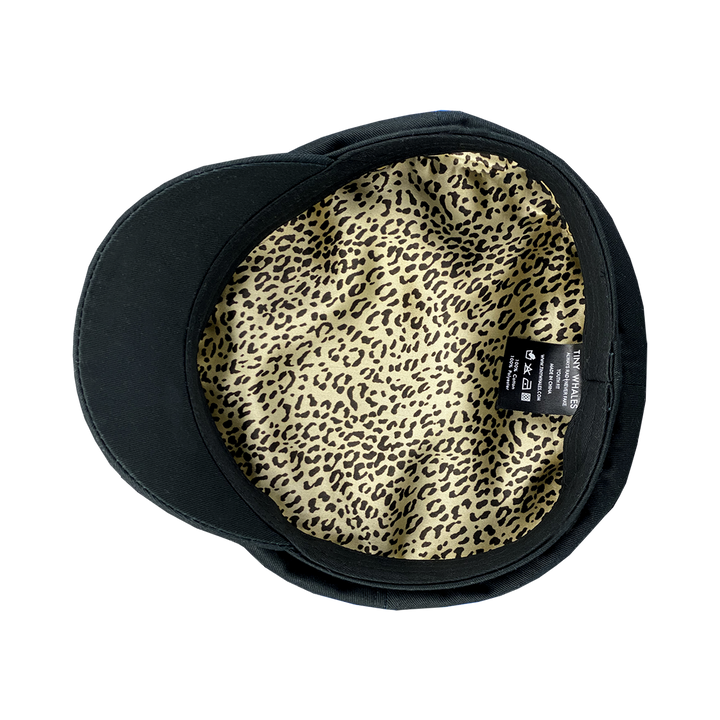 Captains Hat in Brushed Canvas - cheetah lining