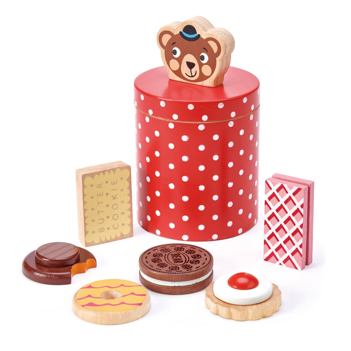 Wooden Bear's Biscuit Barrel with Treats