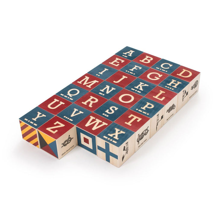 Uncle Goose Nautical Alphabet Blocks with Canvas Bag
