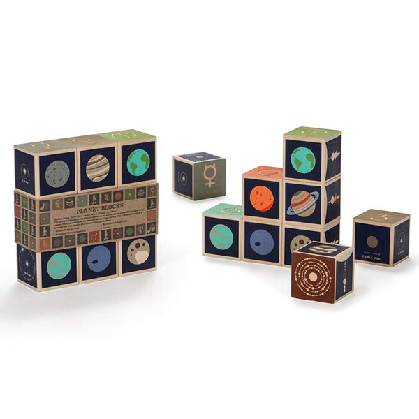 handmade wooden planet blocks
