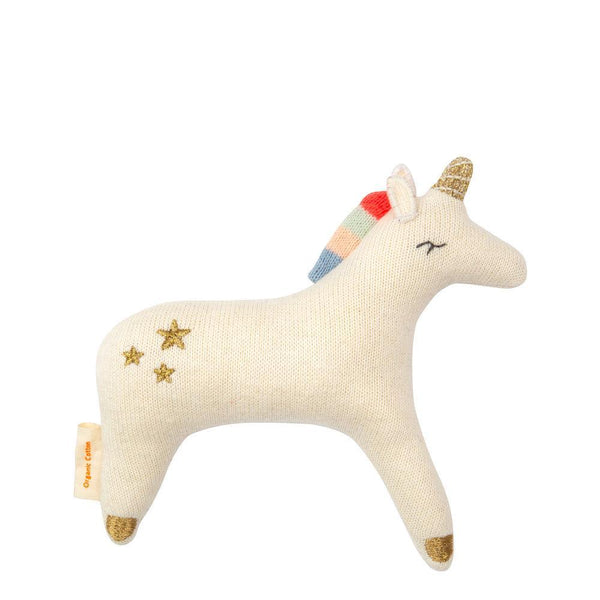 Meri Meri Organic Knit Unicorn Rattle (white)