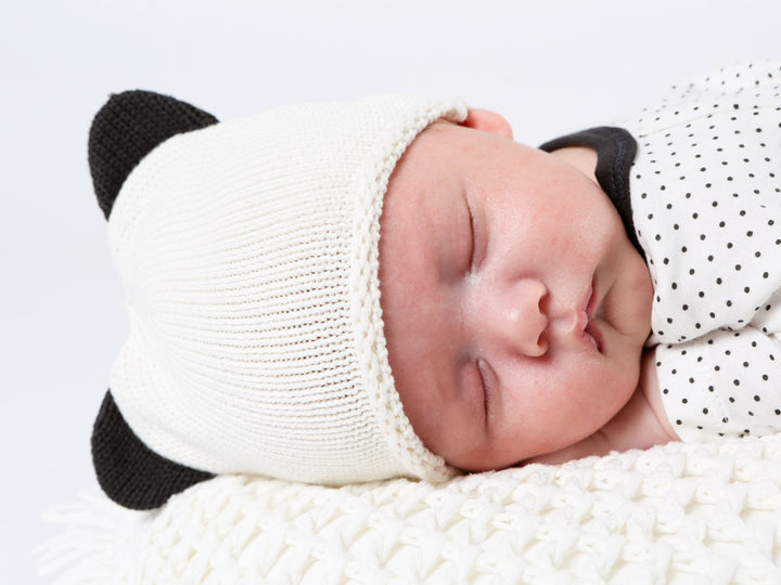 Newborn/Preemie Panda Organic Cotton  Knit Hat