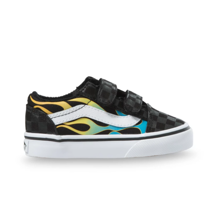 Vans Old Skool V Glow-in-the-Dark Flame Toddler Shoe - side